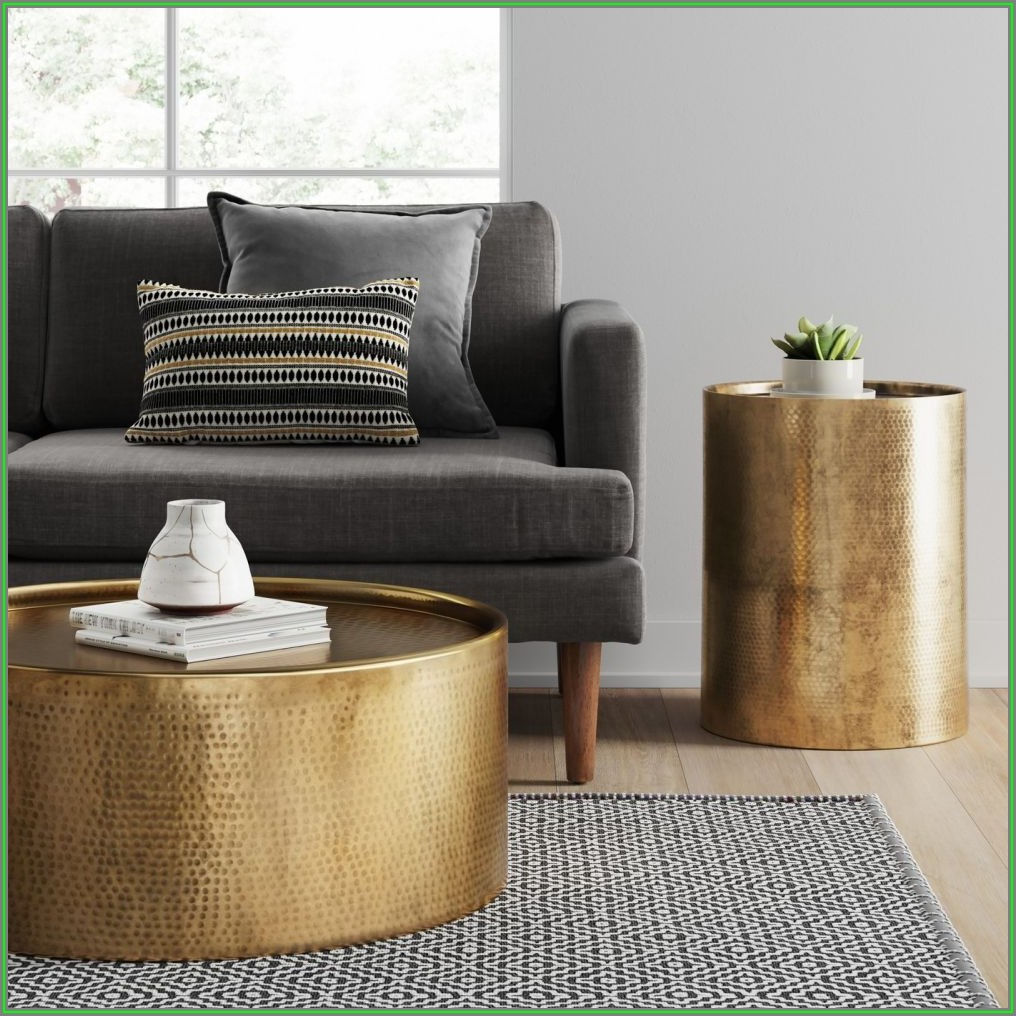 Gold Hammered Metal Coffee Table