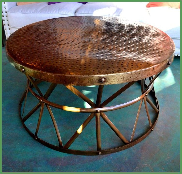 Hammered Metal Drum Coffee Table