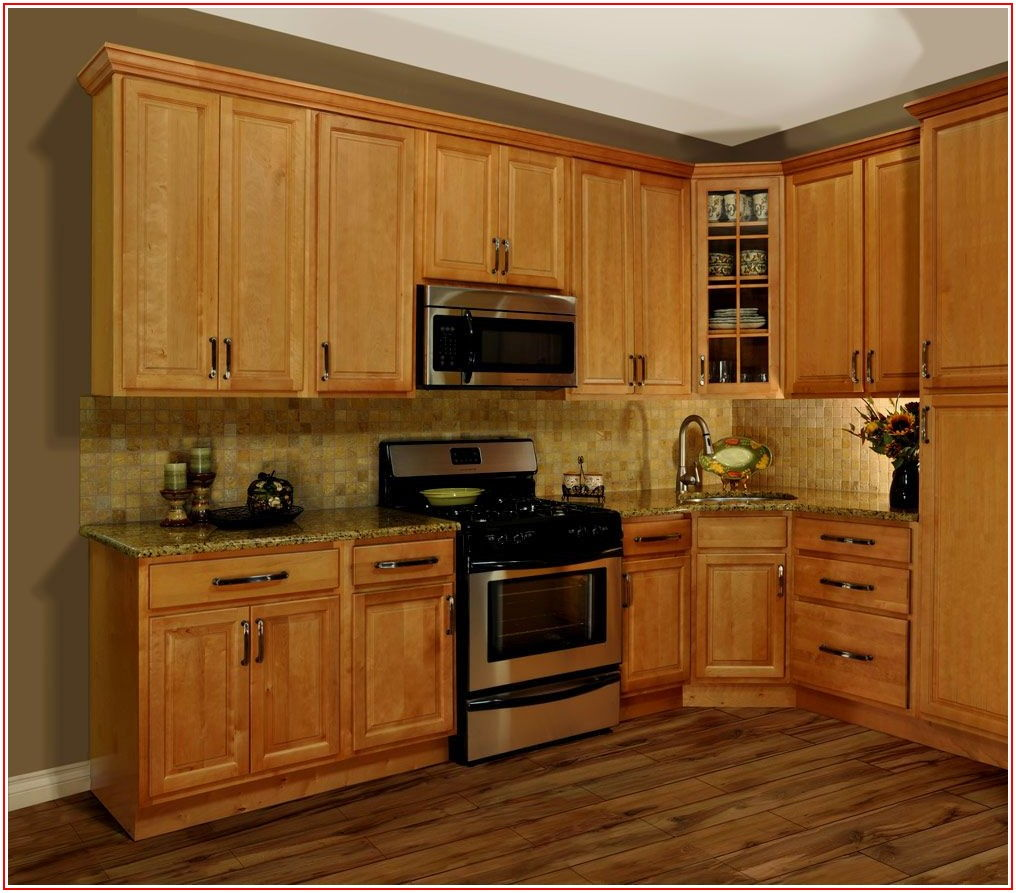 Honey Oak Vinyl Plank Flooring With Oak Cabinets