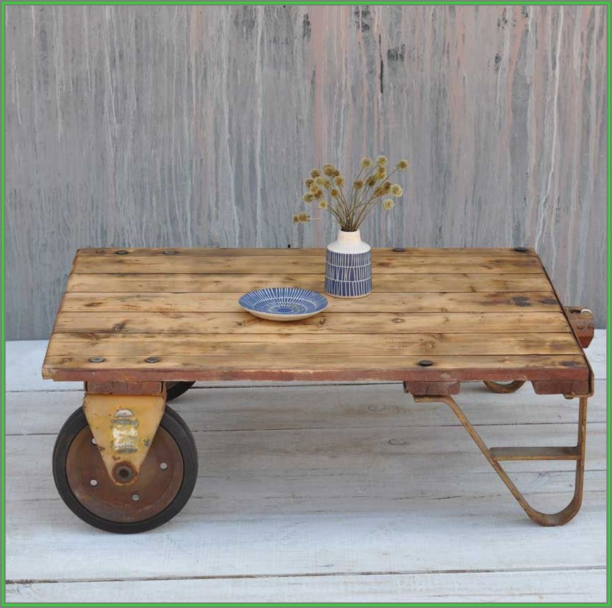 Industrial Rustic Coffee Table With Wheels