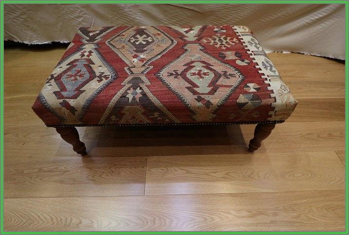 Kilim Upholstered Ottoman Coffee Table
