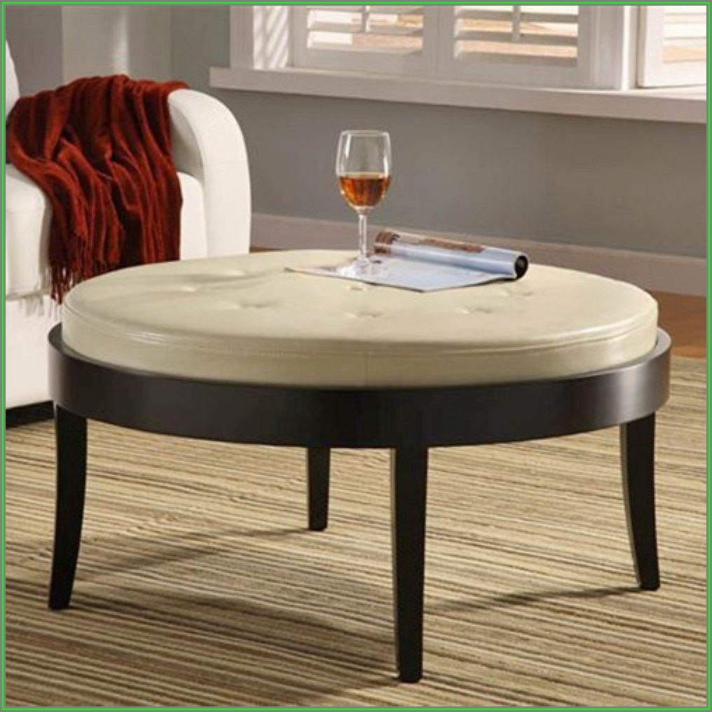 Leather Ottoman Coffee Table Round