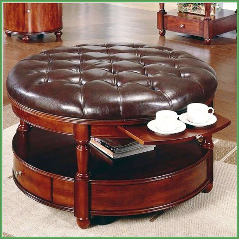 Leather Round Coffee Table Ottoman