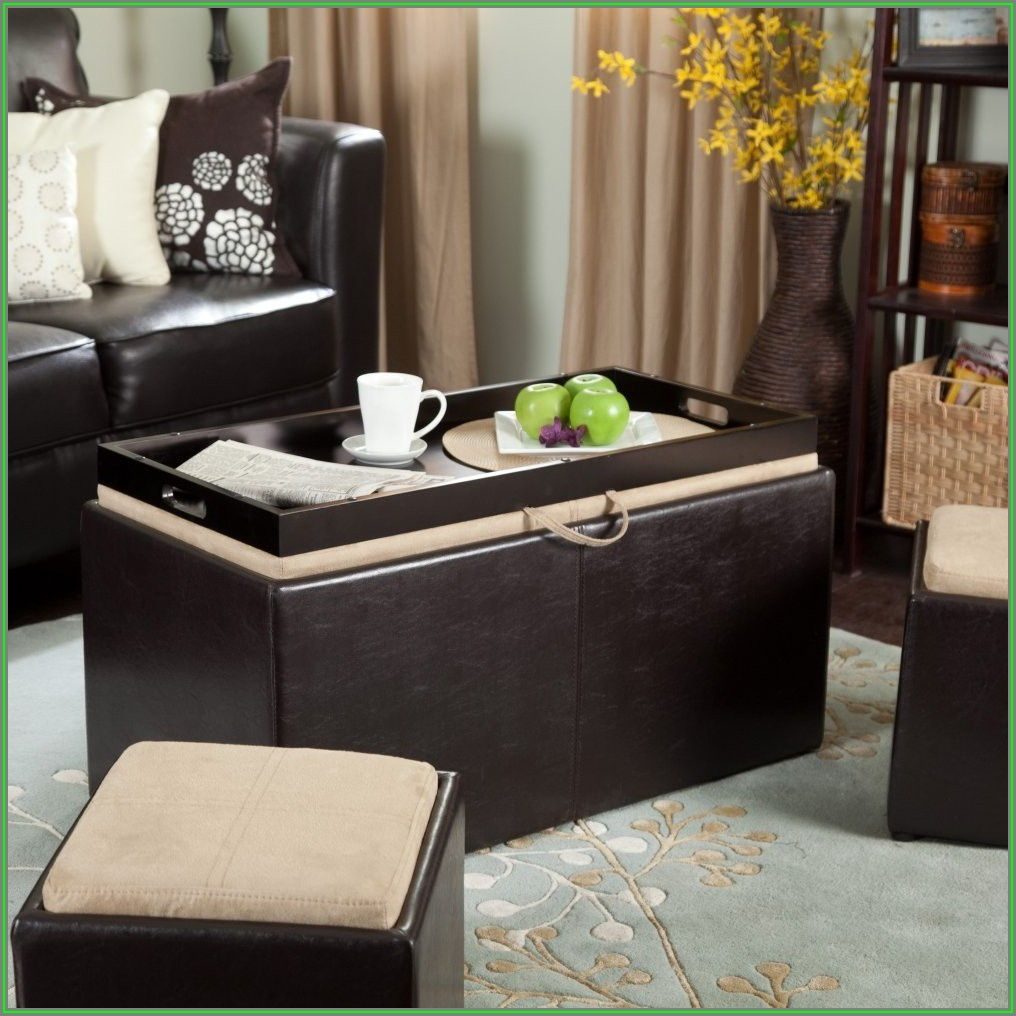 Modern Coffee Table With Ottomans Underneath
