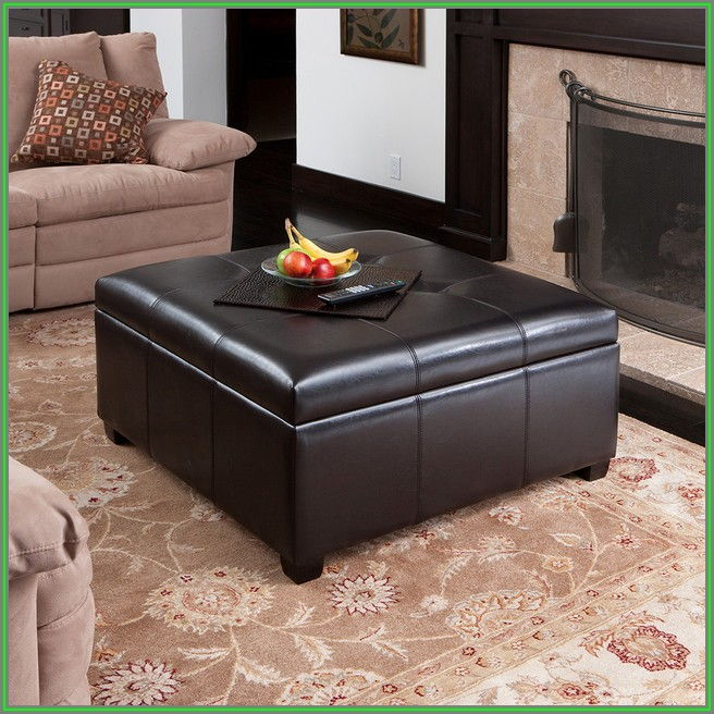 Modern Leather Ottoman Coffee Table