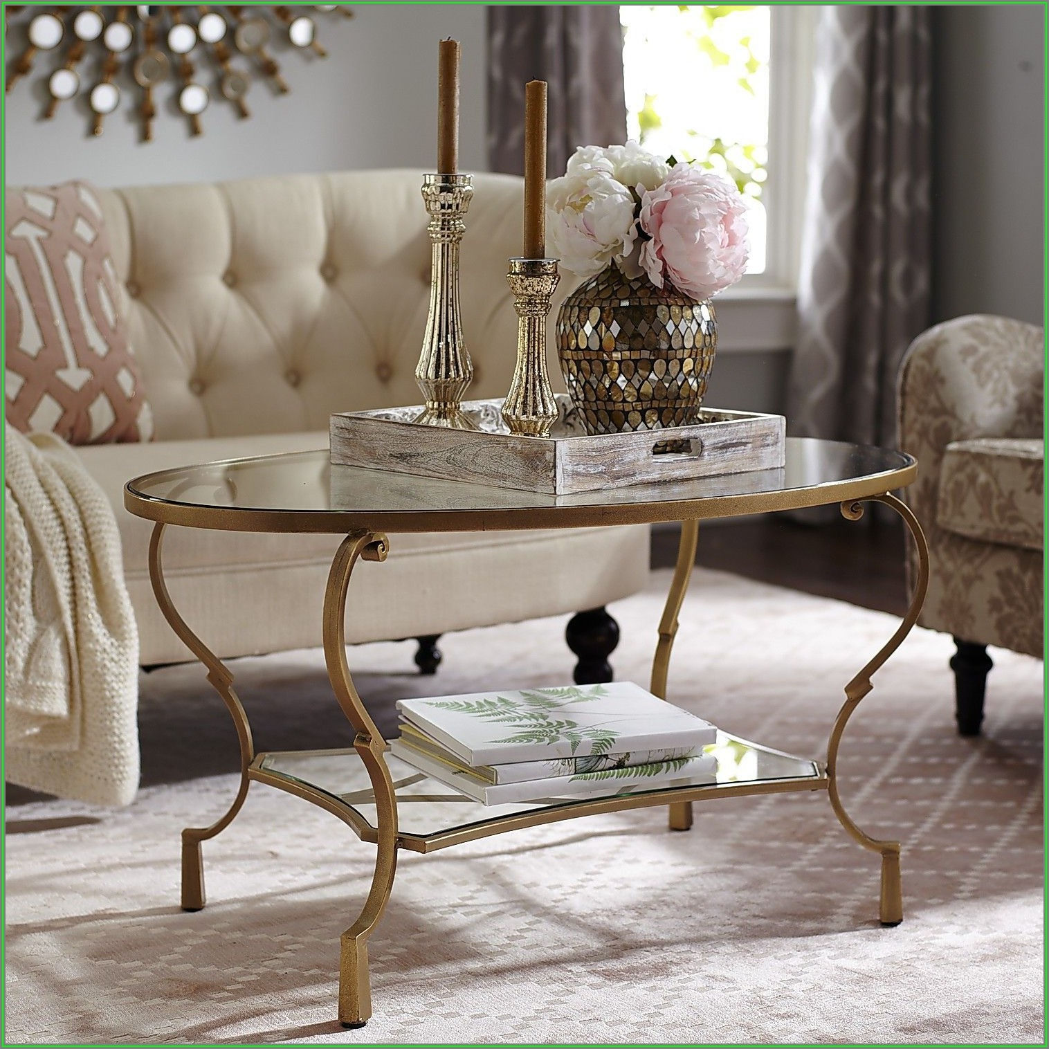 Oval Glass Coffee Table Decor