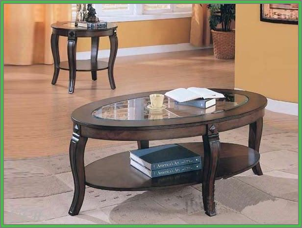 Oval Glass Coffee Table Set