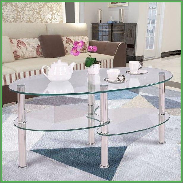 Oval Glass Coffee Table With Shelf