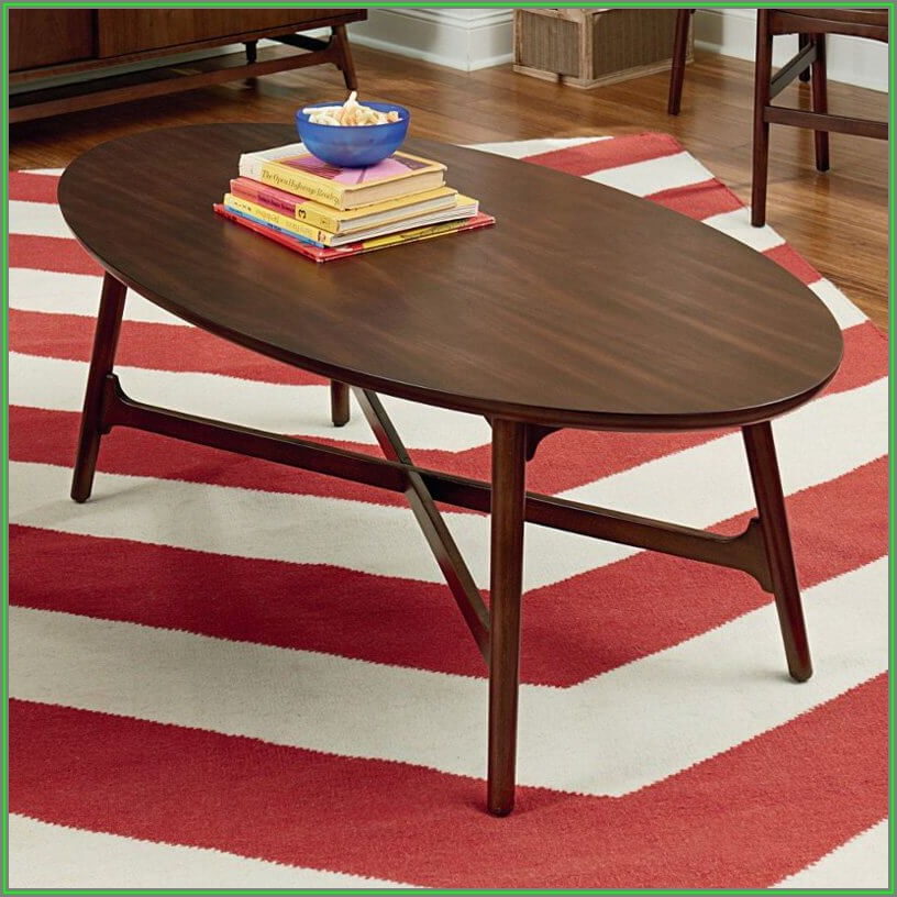 Oval Glass Coffee Table With Wood Base