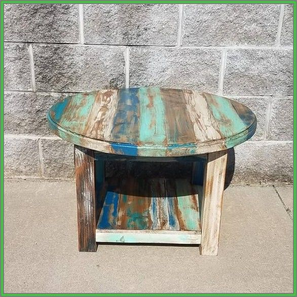 Reclaimed Wood Rustic Round Coffee Table