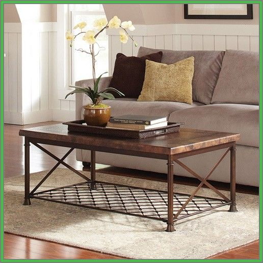 Rectangle Hammered Metal Coffee Table
