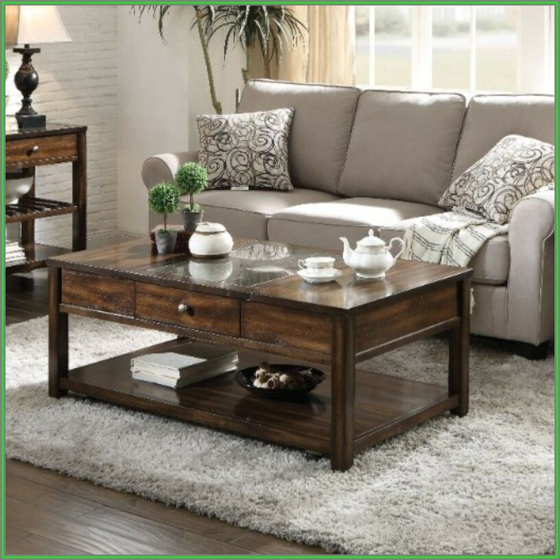 Rectangle Lift Top Coffee Table With Storage