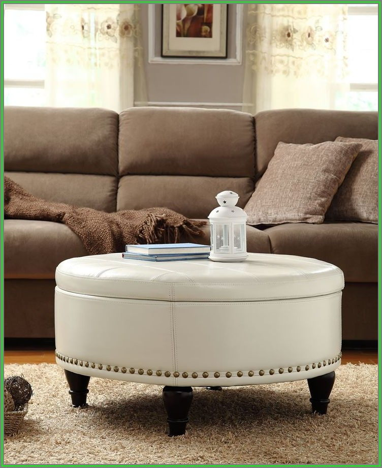 Round Coffee Table Ottoman Combo