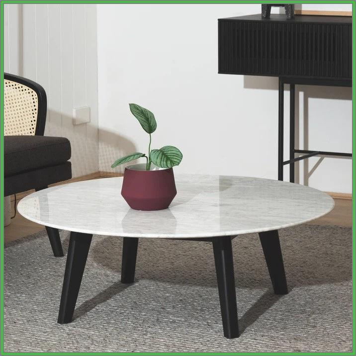 Round Marble Coffee Table Black Legs