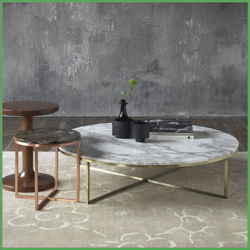 Round Marble Coffee Table Black