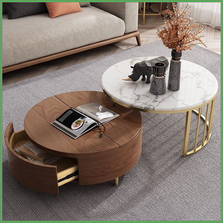 Round Marble Coffee Table With Storage