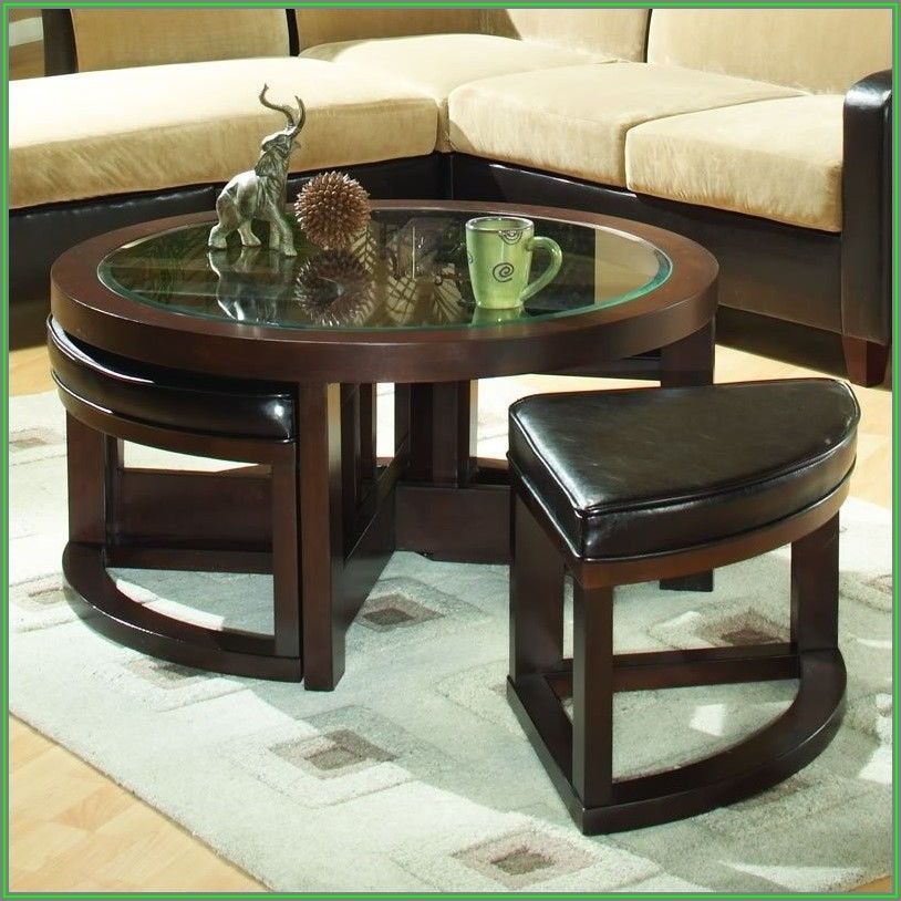 Round Ottoman Coffee Table With Glass Top