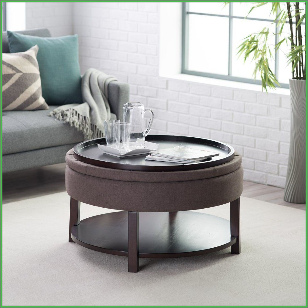 Round Ottoman Coffee Table With Tray