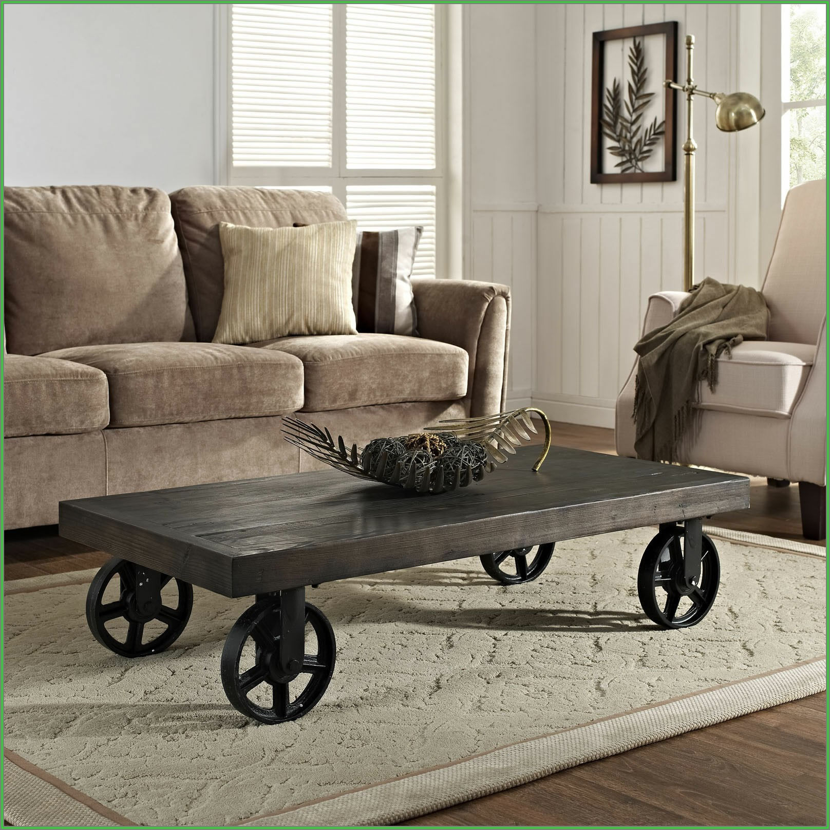 Rustic Coffee Table With Metal Wheels