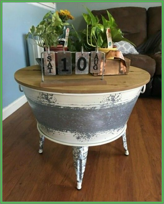 Rustic Round Coffee Table With Storage