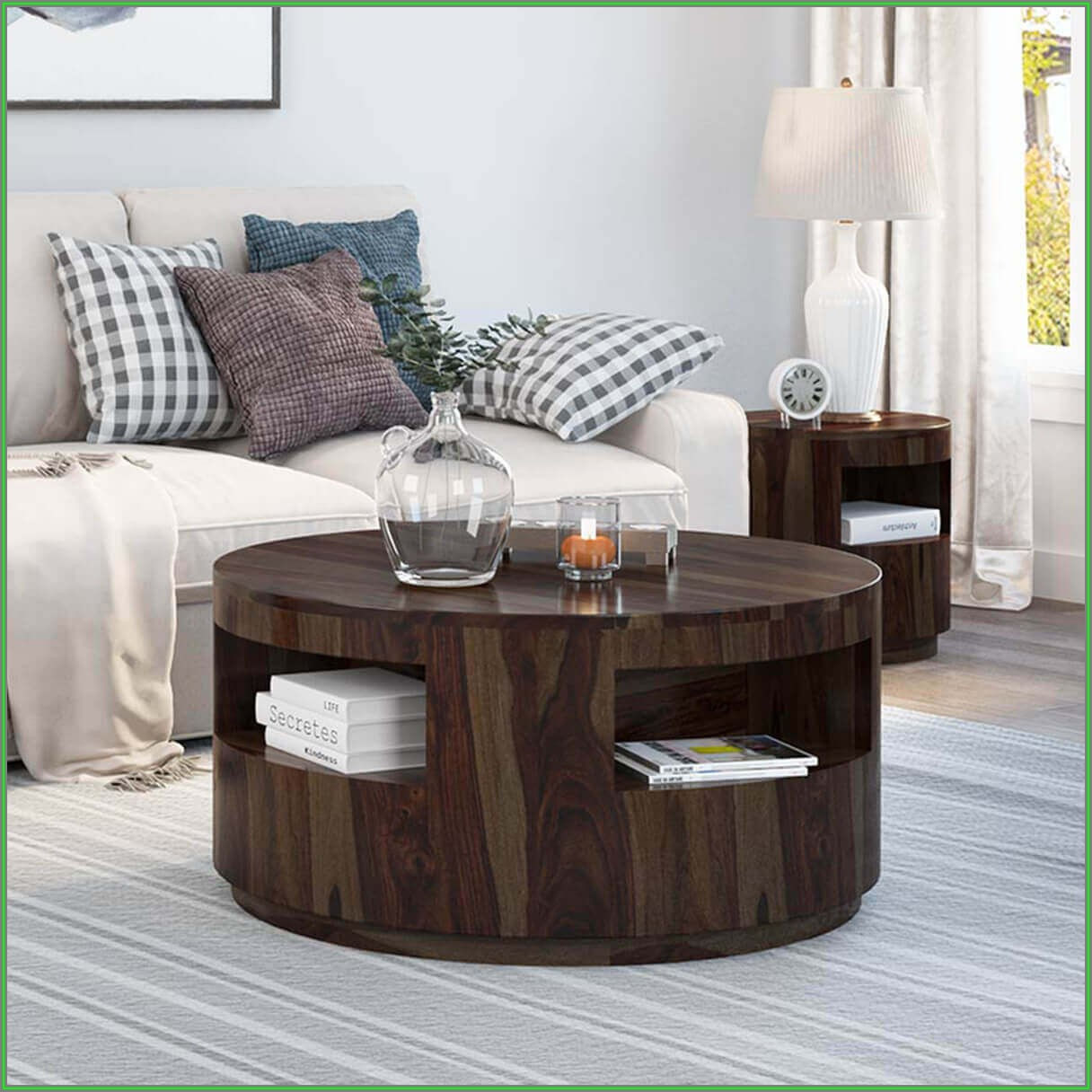 Rustic Round Coffee Table Wood