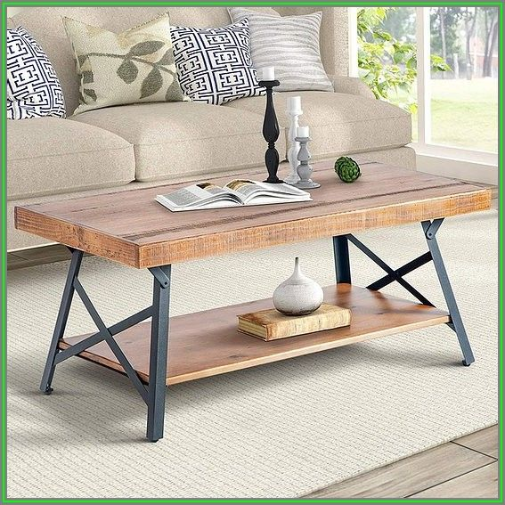 Rustic Wood Coffee Table With Metal Legs