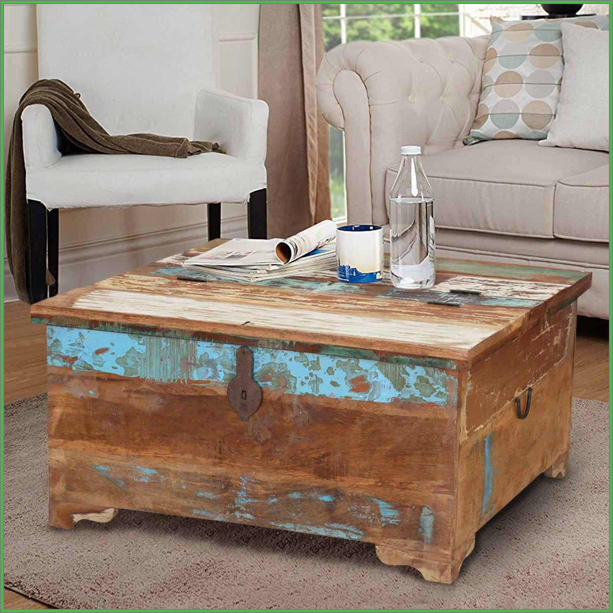 Rustic Wood Coffee Table With Storage