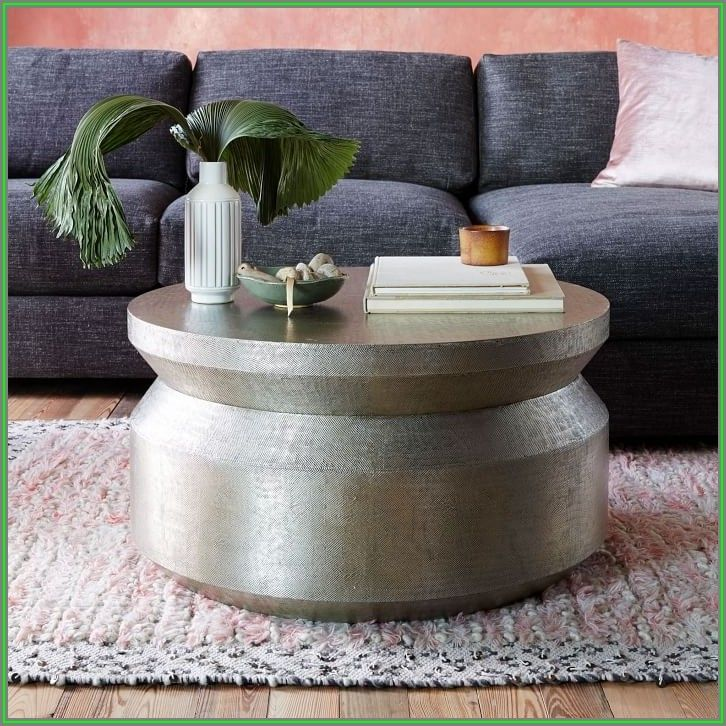 Silver Hammered Metal Coffee Table