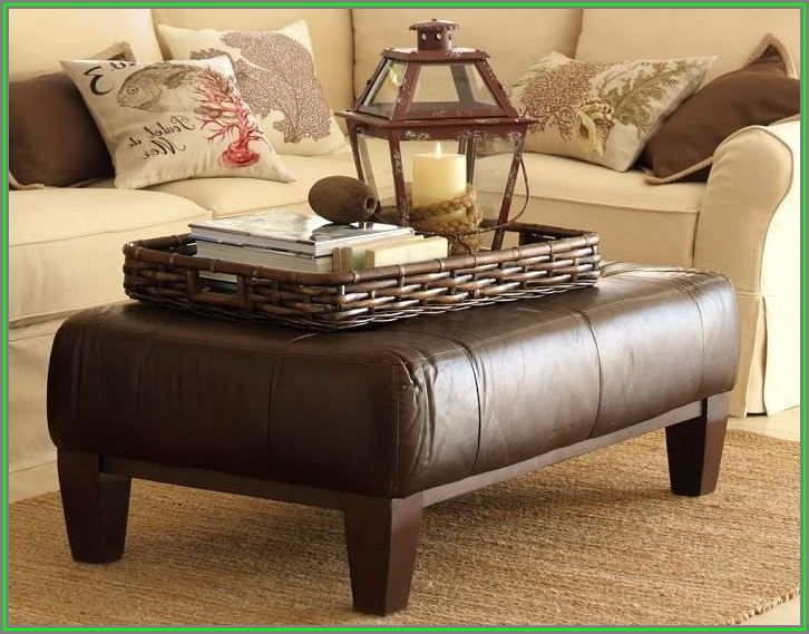 Square Ottoman Coffee Table With Tray