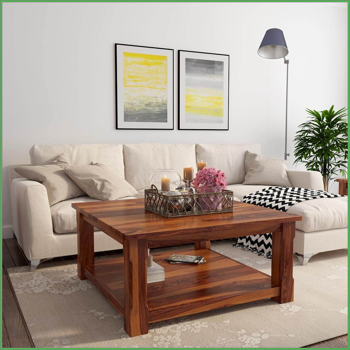 Square Rustic Oak Coffee Table