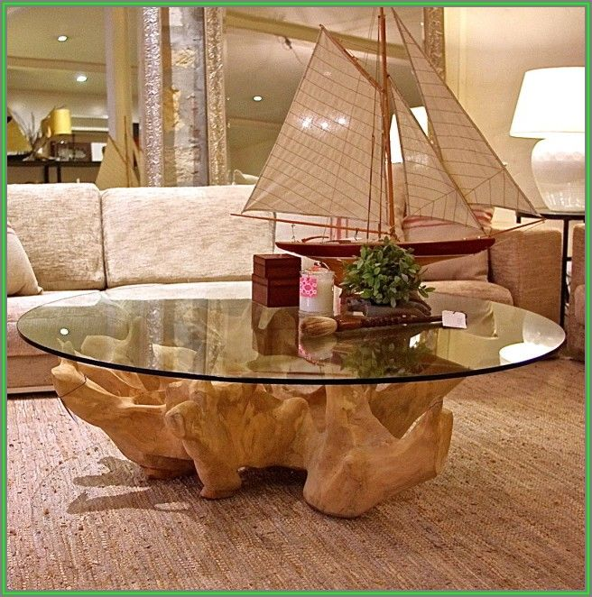 Tree Trunk Coffee Table With Glass Top