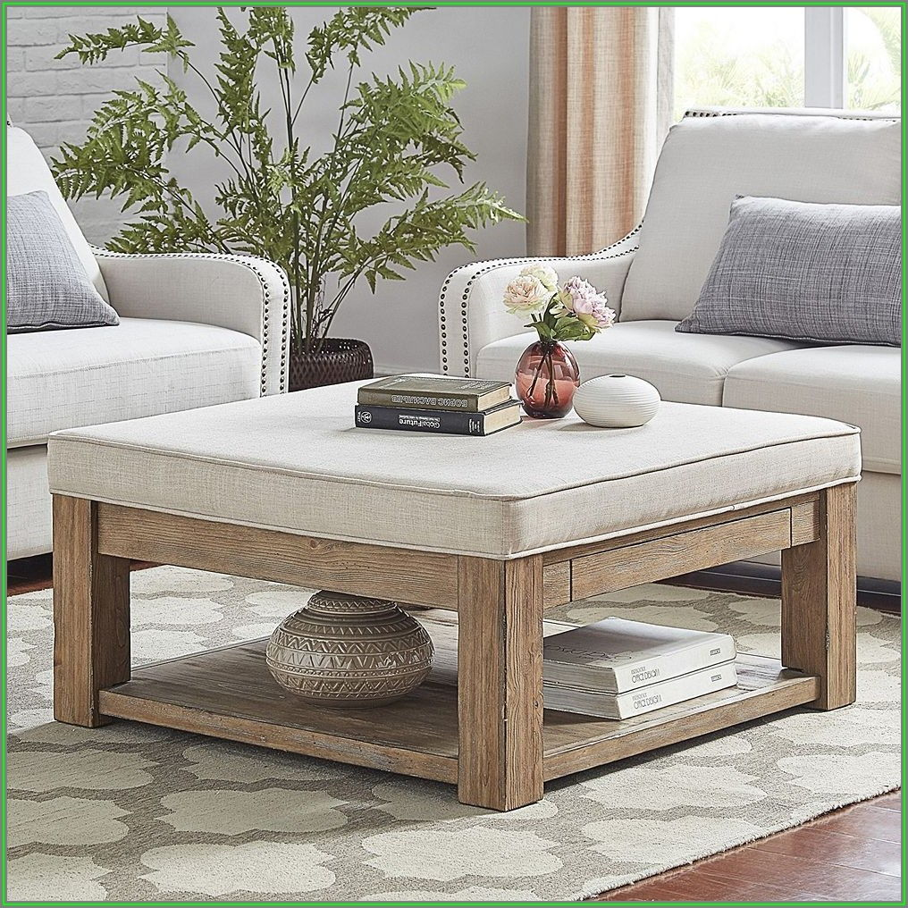 Upholstered Ottoman Coffee Table With Shelf