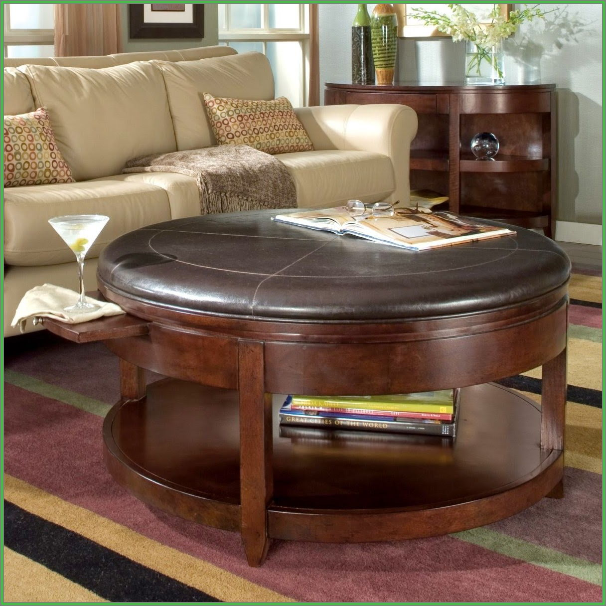 Upholstered Round Ottoman Coffee Table