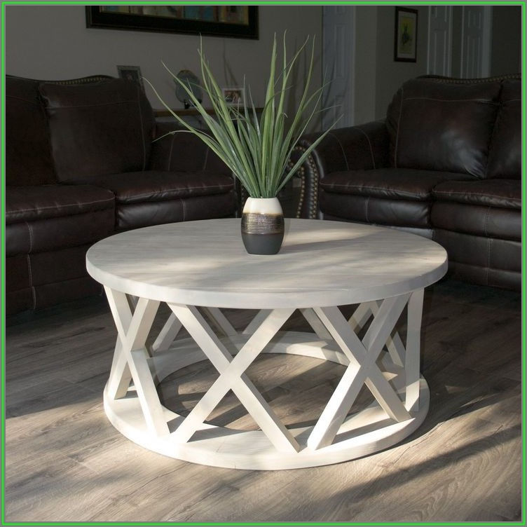 White Rustic Round Coffee Table