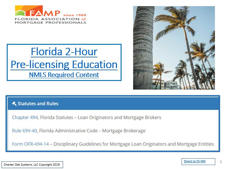 FAMP 2 Hour FL SAFE Act NMLS ID 10684