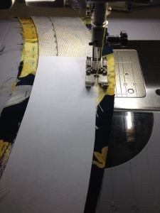 Staystitching along the paper pattern
