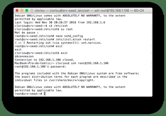 Connexion en root via ssh