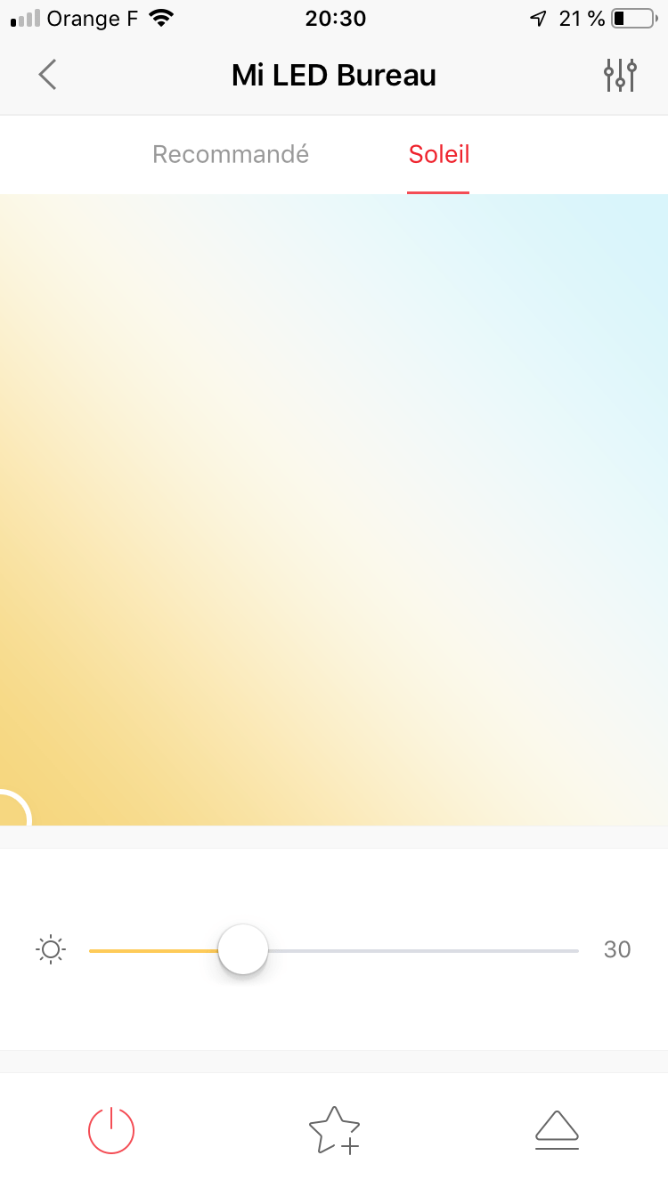 Palette de température de couleur