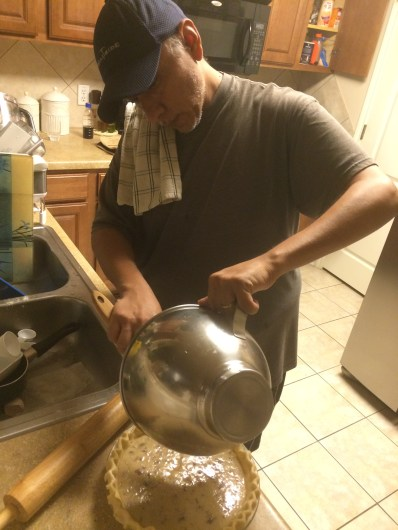 The Hubs making his 1st Pecan Pie