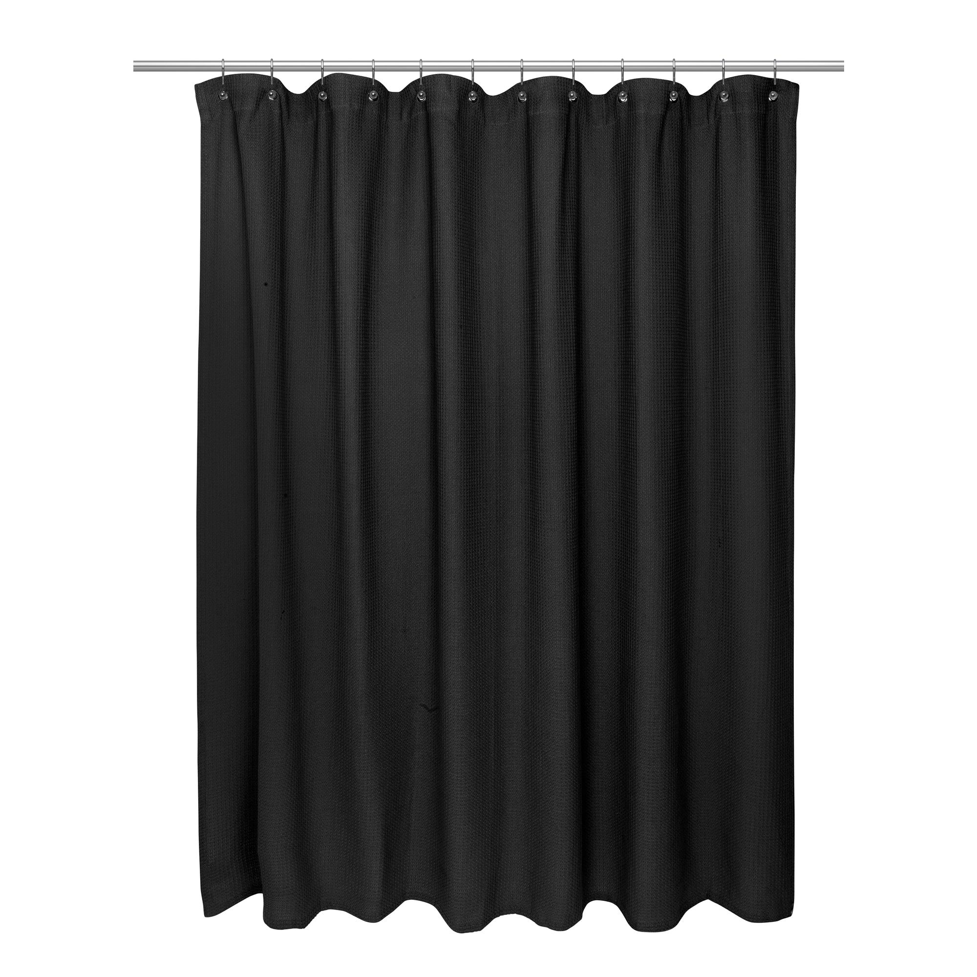 Details About Carnation Home Standard Size 100 Cotton Waffle Weave Shower Curtain Black