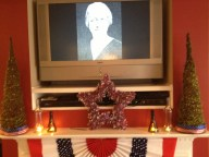 Vintage images playing in background of Patriotic Mantle Scape