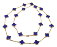 Van Cleef & Arpels 18k Yellow Gold Lapis Lazuli Alhambra Necklace