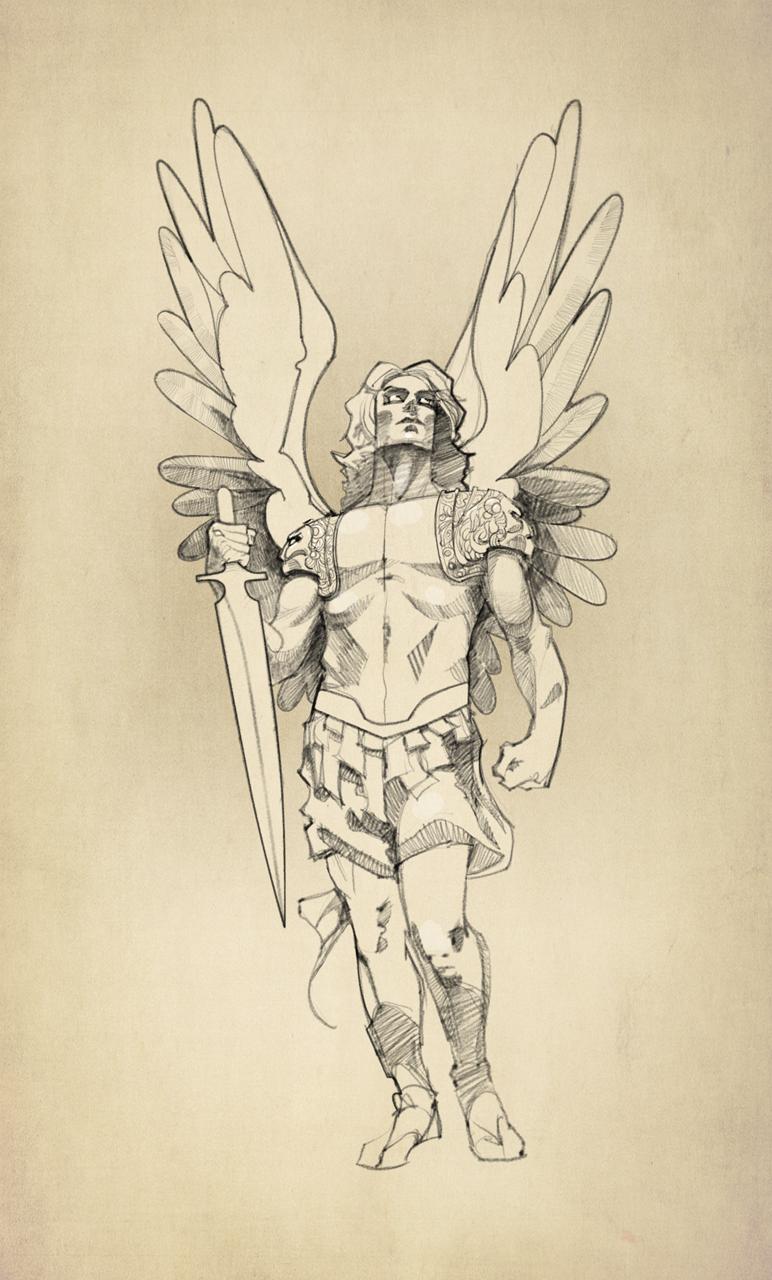 Arch Angel Michael Tattoo Sketch 02