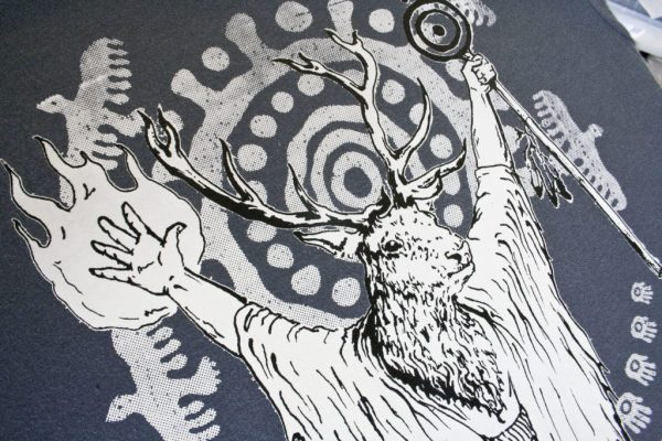 deer shaman shirt detail