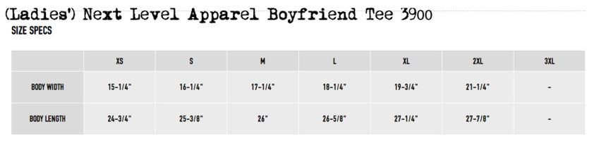 Next Level ladies 3900 sizing chart