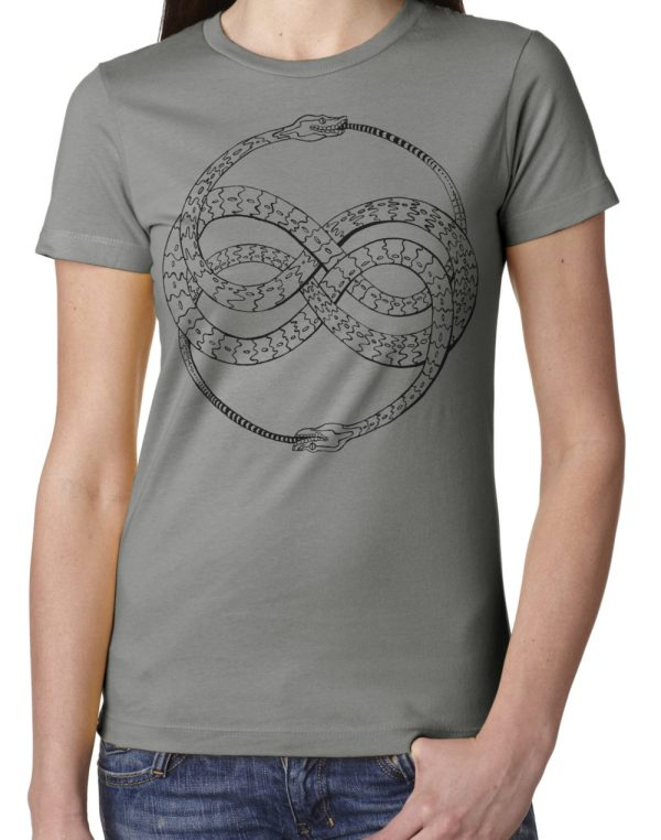 Ladies' Ouroboros shirt design on Grey by Closet of Mysteries