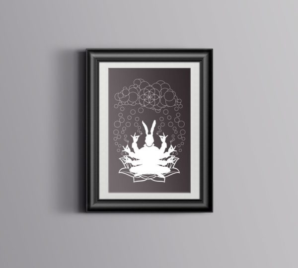 Bubble God Poster with sacred geometry flower of life original art screen printed by hand