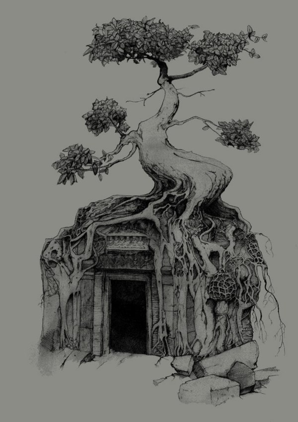 Angkor Wat Shirt Banyon Tree Bodhi Tree original design by Closet of Mysteries