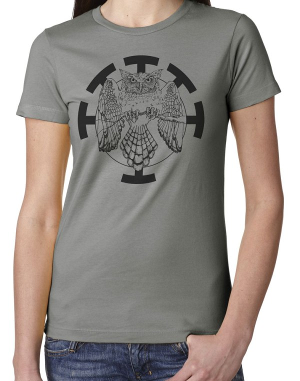 hand drawn Ladies' Owl shirt design by Closet of Mysteries