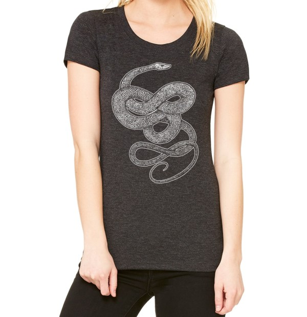 Ladies' witchy shirt with knotted snake print by Closet of Mysteries